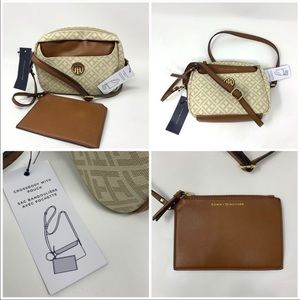 Tommy Hilfiger Embossed Beige Cross Body & Pouch!